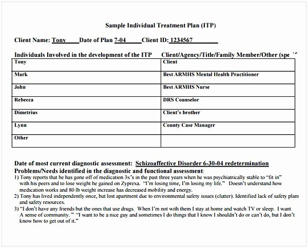 Occupational therapy Treatment Plan Template Beautiful Counseling Treatment Plan Template Pdf