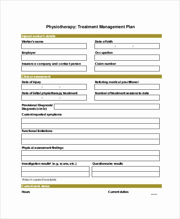 Occupational therapy Treatment Plan Template Fresh 23 Treatment Plan Examples Word Google Docs Apple