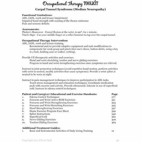 Occupational therapy Treatment Plan Template Inspirational Occupational therapy toolkit Cd Version English Spanish