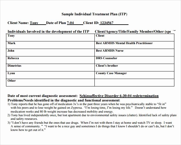 Occupational therapy Treatment Plan Template New 8 Treatment Plan Templates