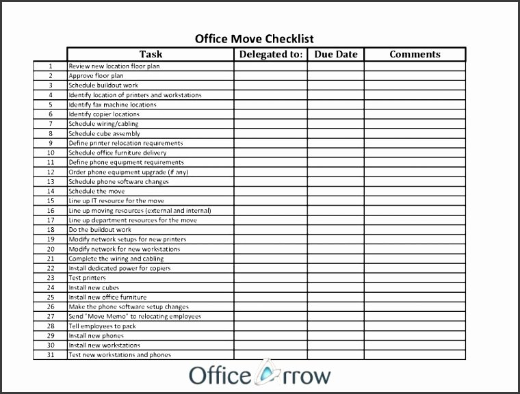 Office Move Checklist Excel Elegant 10 Internal Fice Move Checklist Template