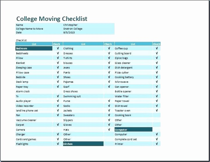 Office Move Checklist Excel New Moving Checklist Spreadsheet 8 Sample Moving Checklist