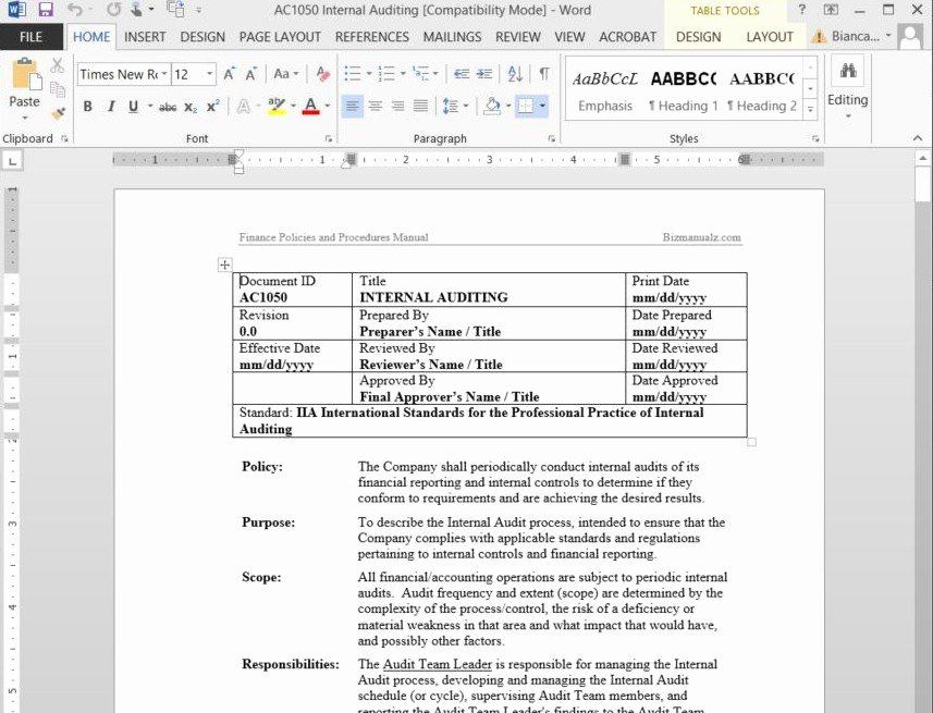 Office Procedures Manual Template Best Of Free Sample Policies and Procedures Template