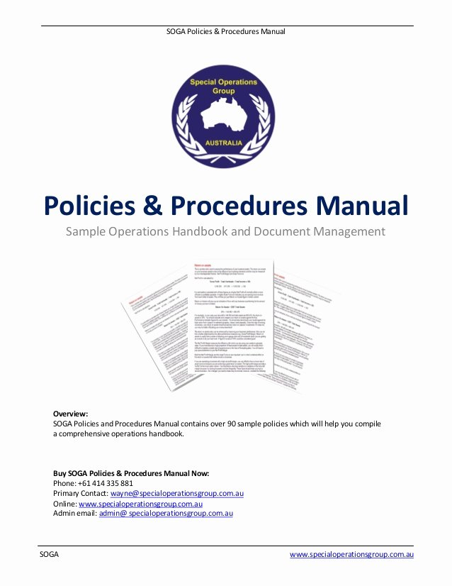 Office Procedures Manual Template Fresh soga Policies Procedures Manual software Sample