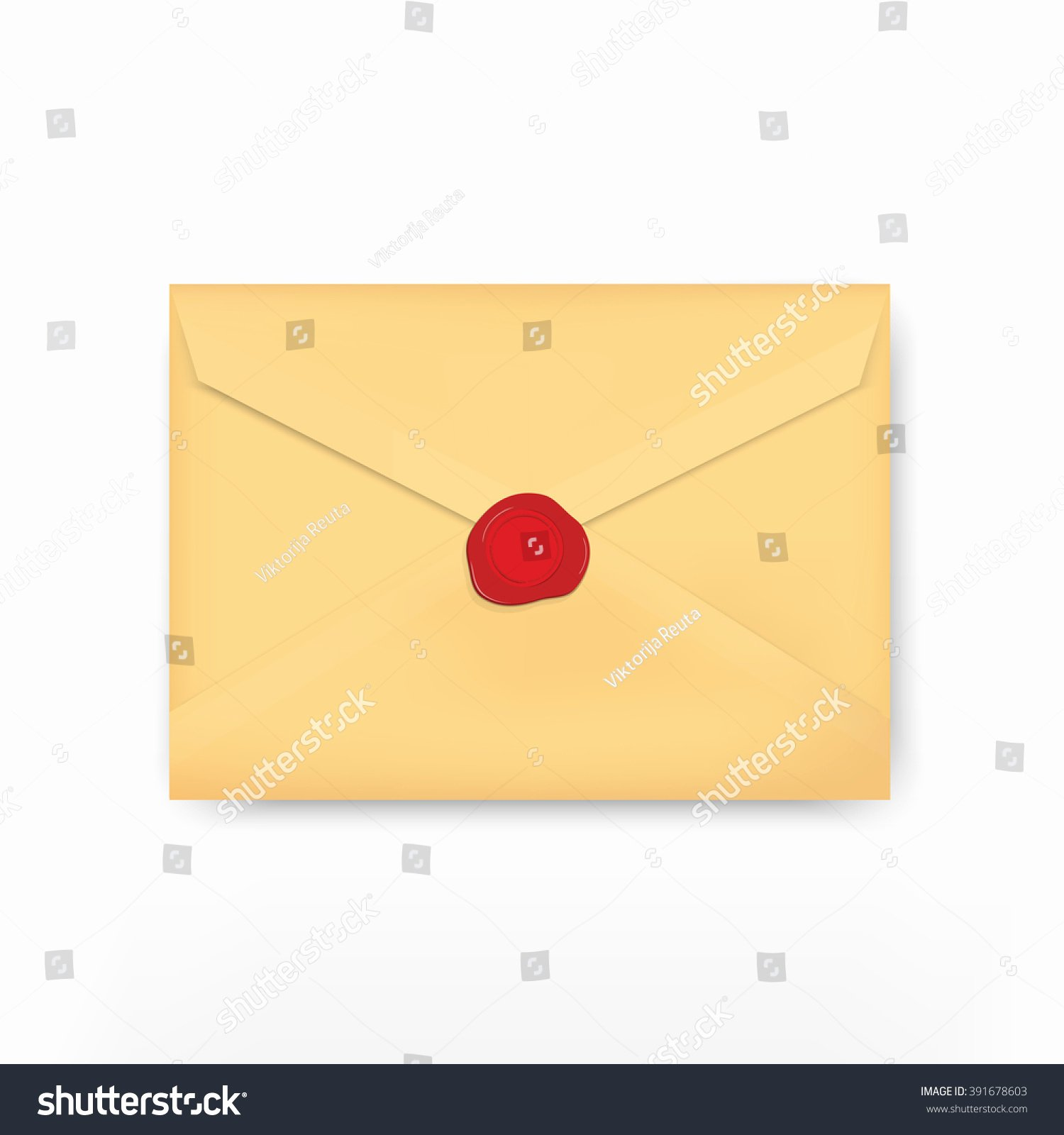 Official Seal Template Best Of Vector Illustration Brown Golden Envelope isolated Stock