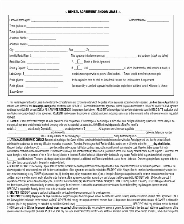 One Page Lease Agreement Awesome 20 Rental Agreement form Templates & Samples Doc Pdf