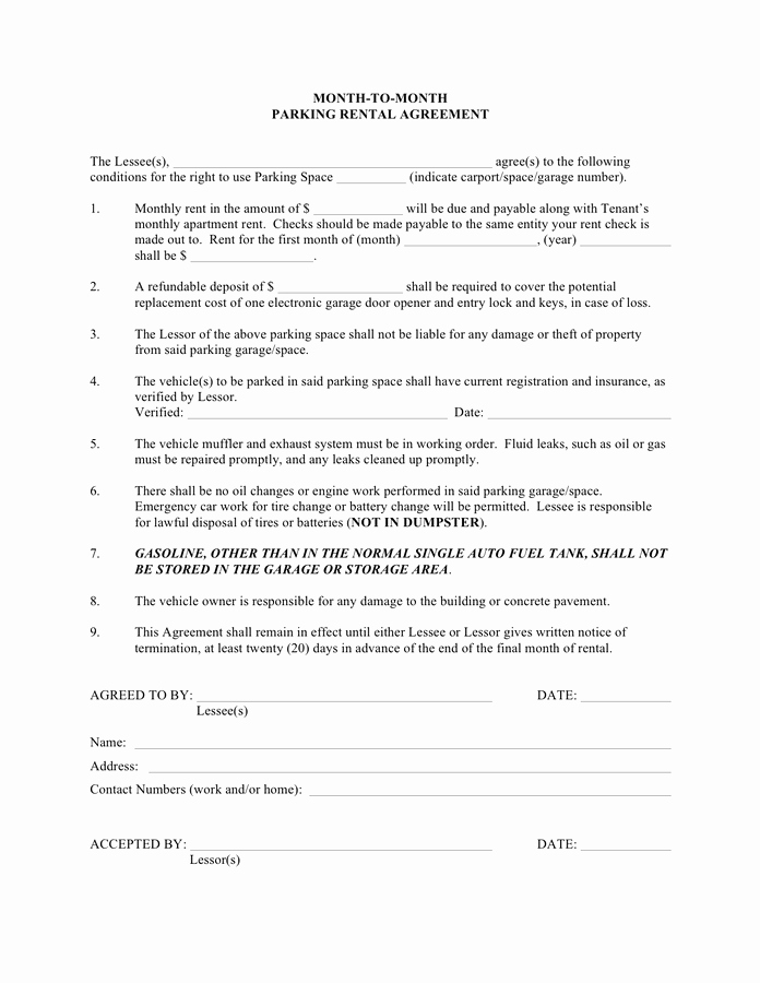 One Page Lease Agreement Best Of Month to Month Parking Rental Agreement Template In Word