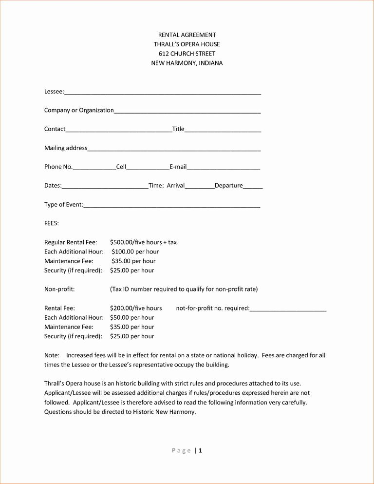 One Page Lease Agreement Elegant Simple E Page Lease Agreement