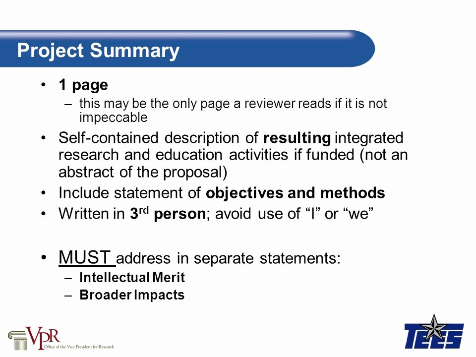 One Page Project Summary Fresh Proposal – Nsf Proposal Template Ppt Video Online