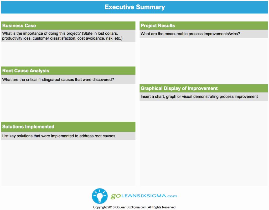 One Page Project Summary Lovely Executive Summary Goleansixsigma