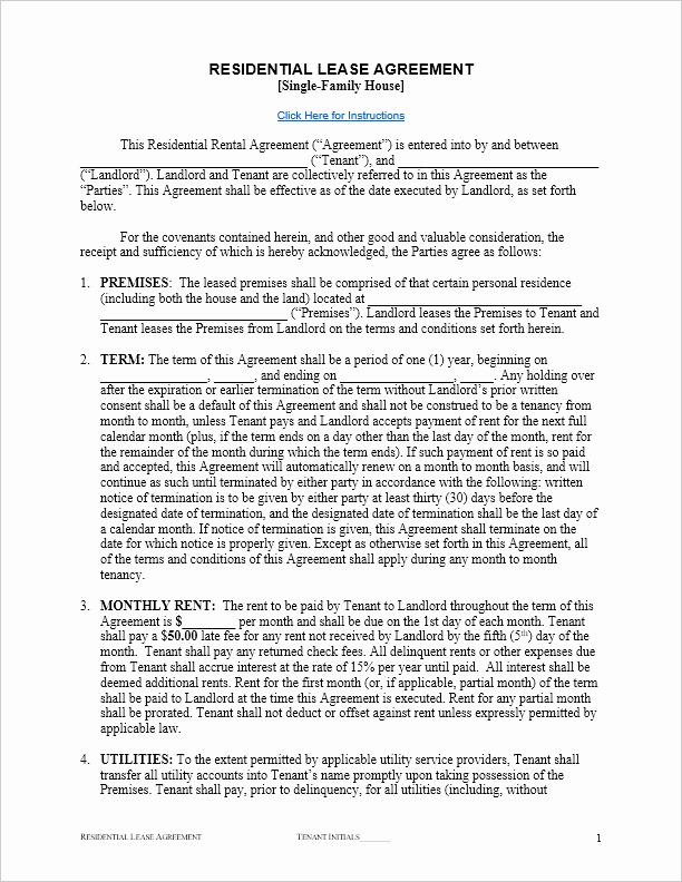 One Page Rental Agreement Awesome Free Lease Agreement Template for Word