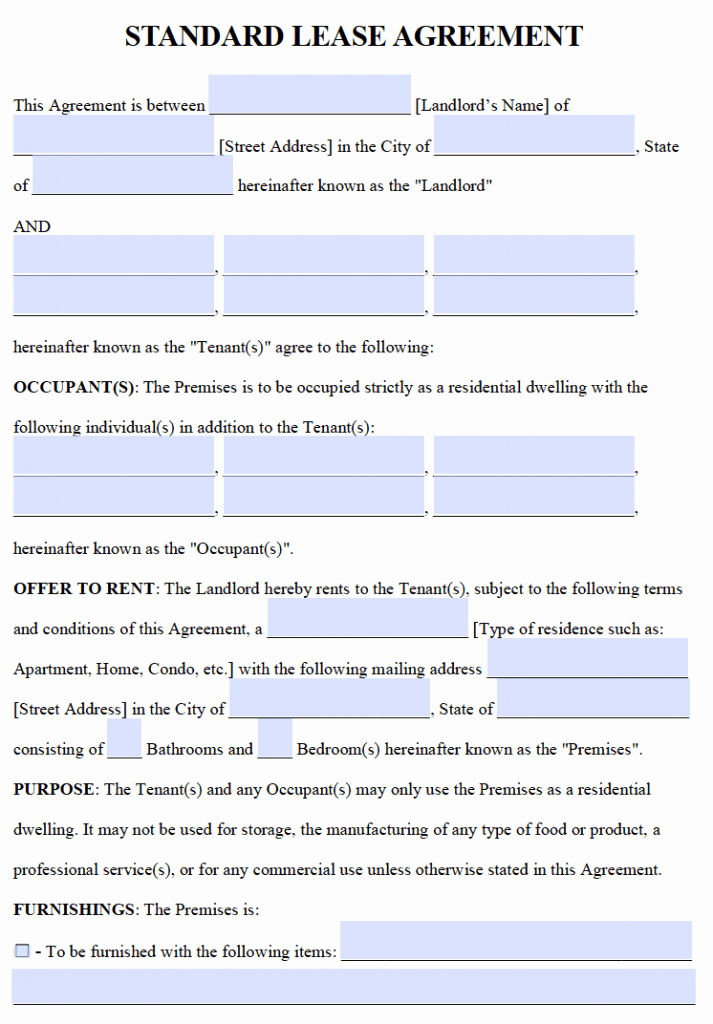 One Page Rental Agreement Best Of Free Residential Lease Agreements – Pdf and Word Templates