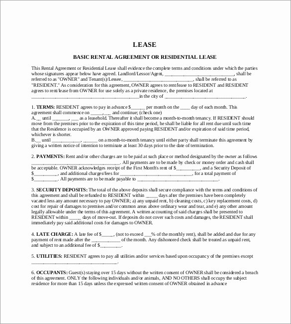 One Page Rental Agreement Elegant E Page Rental Agreement