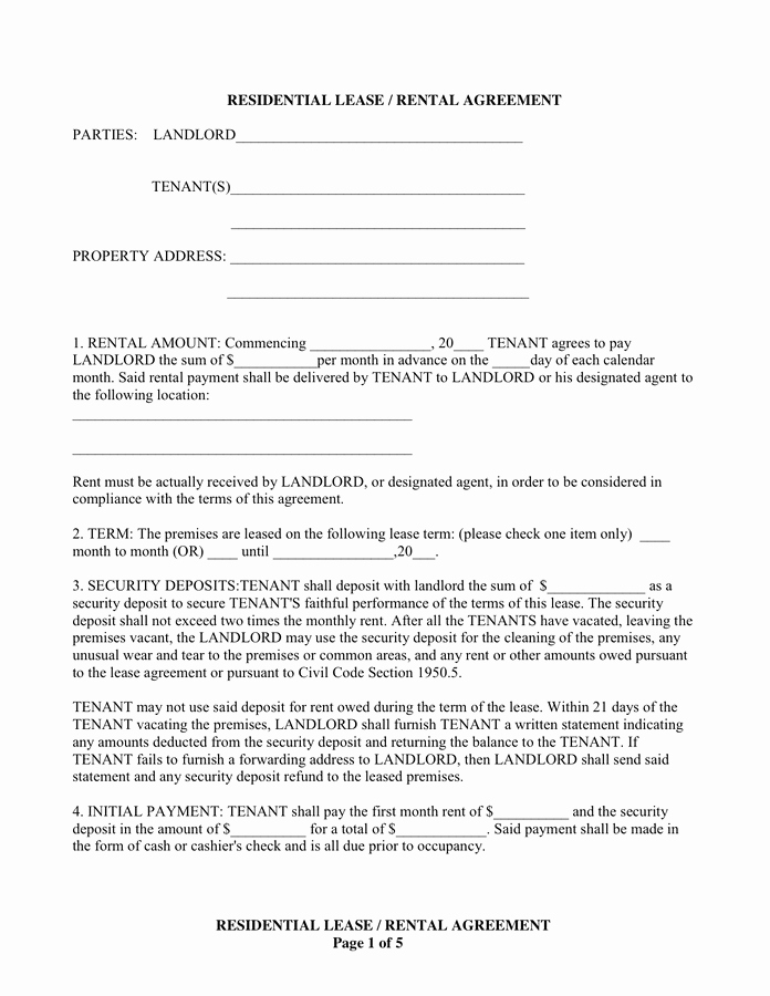 One Page Rental Agreement Inspirational Residential Lease Rental Agreement In Word and Pdf formats