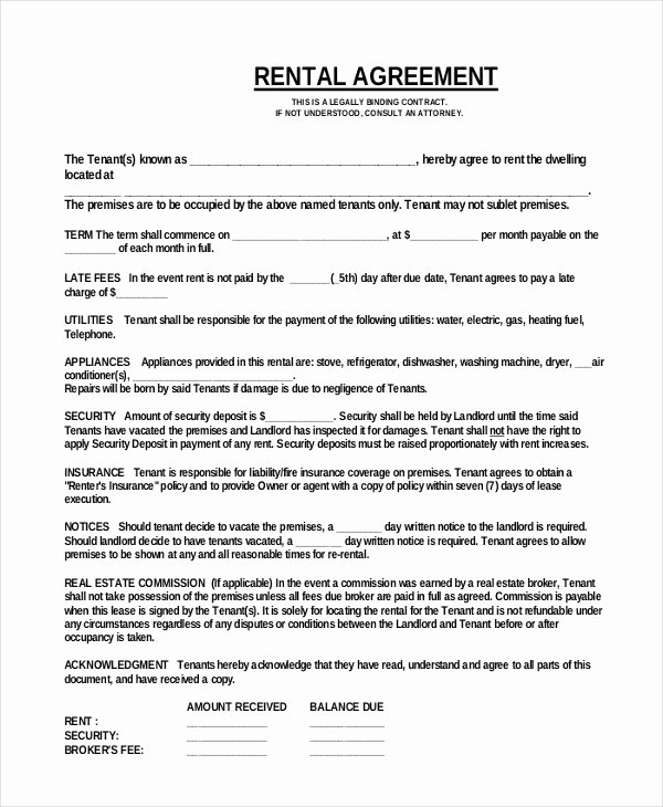 One Page Rental Agreement Luxury 42 Simple Rental Agreement Templates Pdf Word
