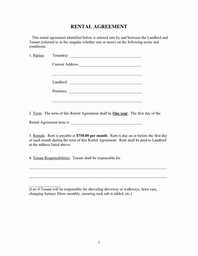 One Page Rental Agreement Unique 1 Page Rental Agreement form Advanced Rental Agreement