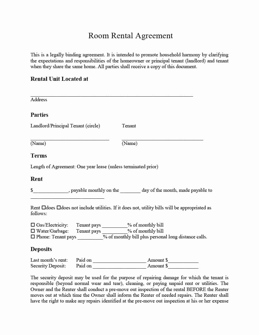 One Page Rental Agreement Unique 39 Simple Room Rental Agreement Templates Template Archive