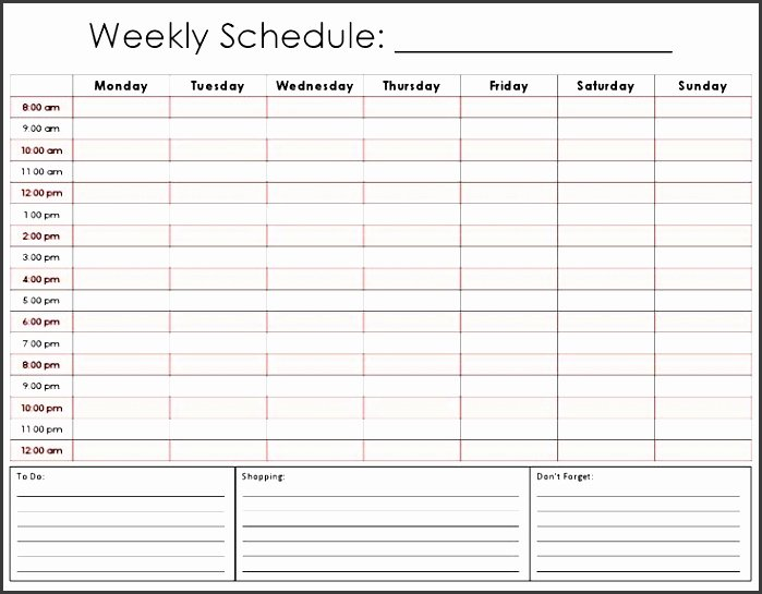 One Week Schedule Template Awesome 9 E Week Planner Template Easy to Use Sampletemplatess