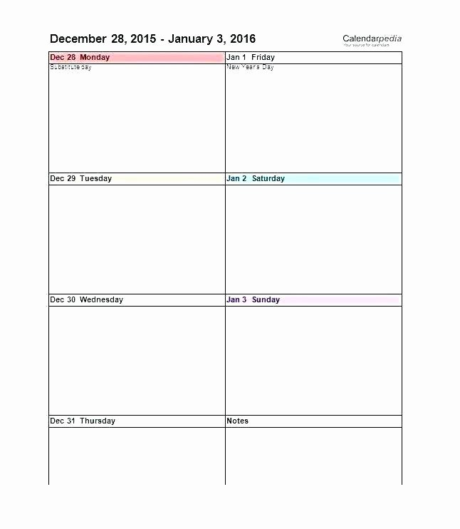 One Week Schedule Template Awesome E Week Calendar Template