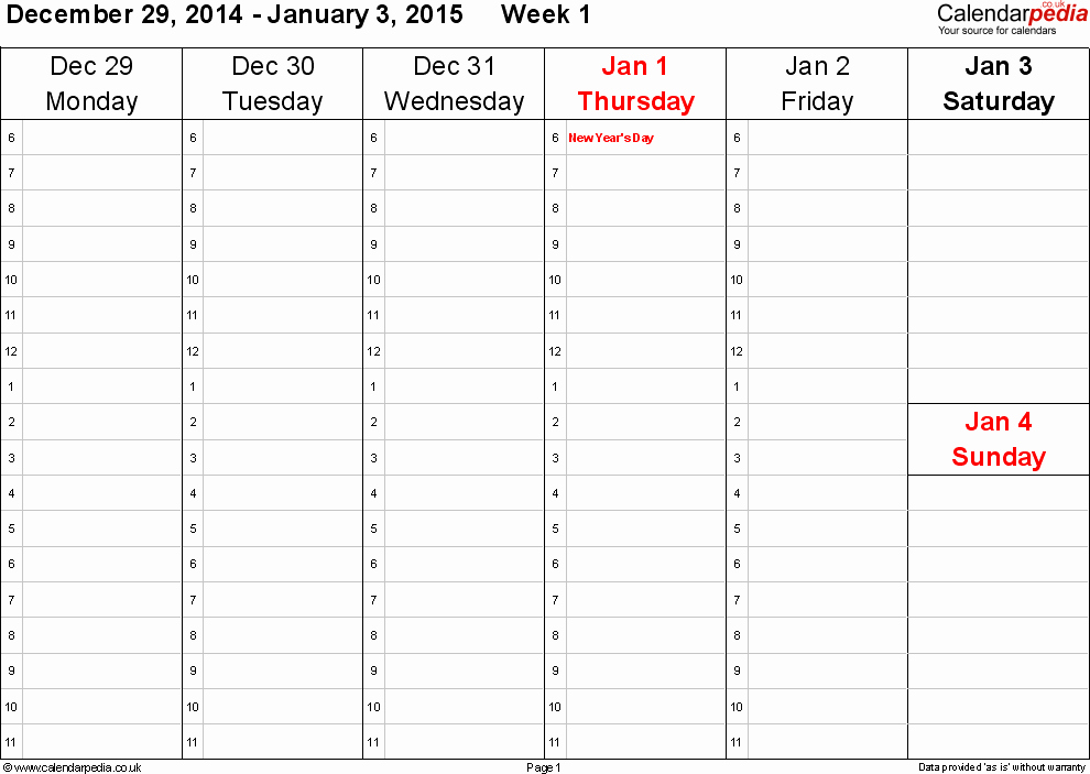 One Week Schedule Template Best Of Weekly Calendar 2015 Uk Free Printable Templates for Word