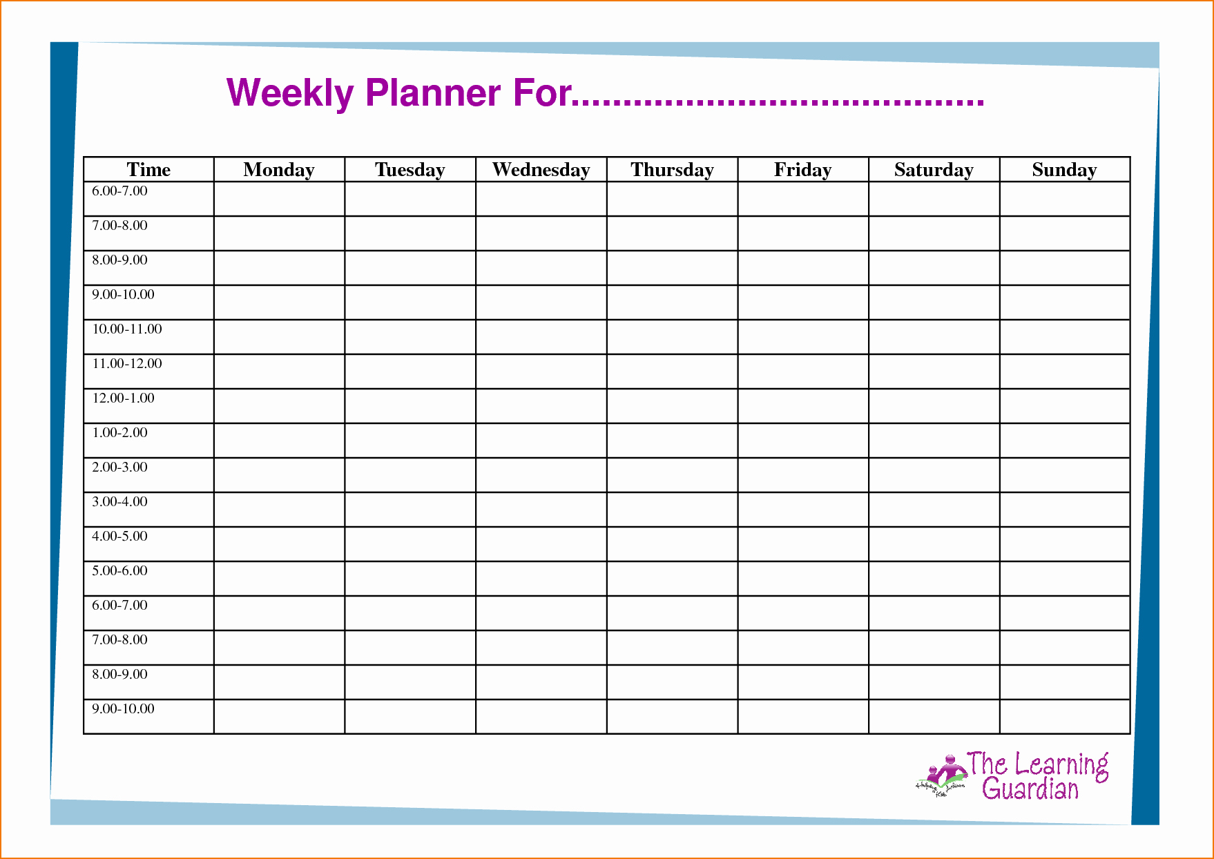 One Week Schedule Template Elegant 6 Week Planner Template