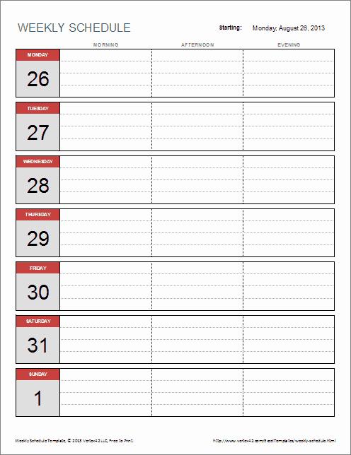 One Week Schedule Template Elegant 6 Weekly Schedule Templates Word Excel Pdf Templates