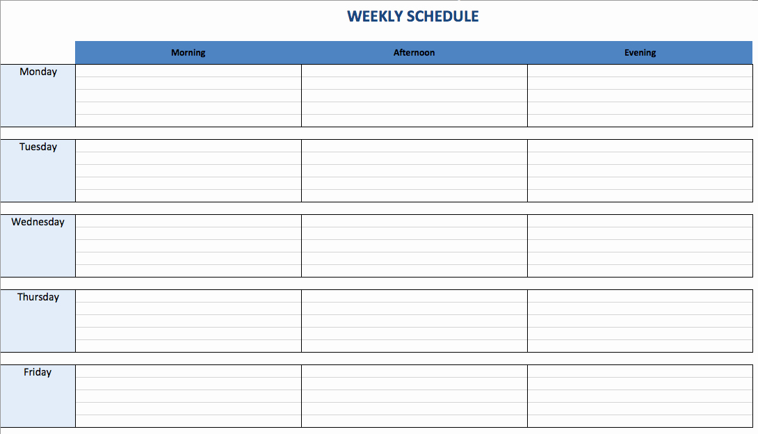One Week Schedule Template Elegant Free Excel Schedule Templates for Schedule Makers