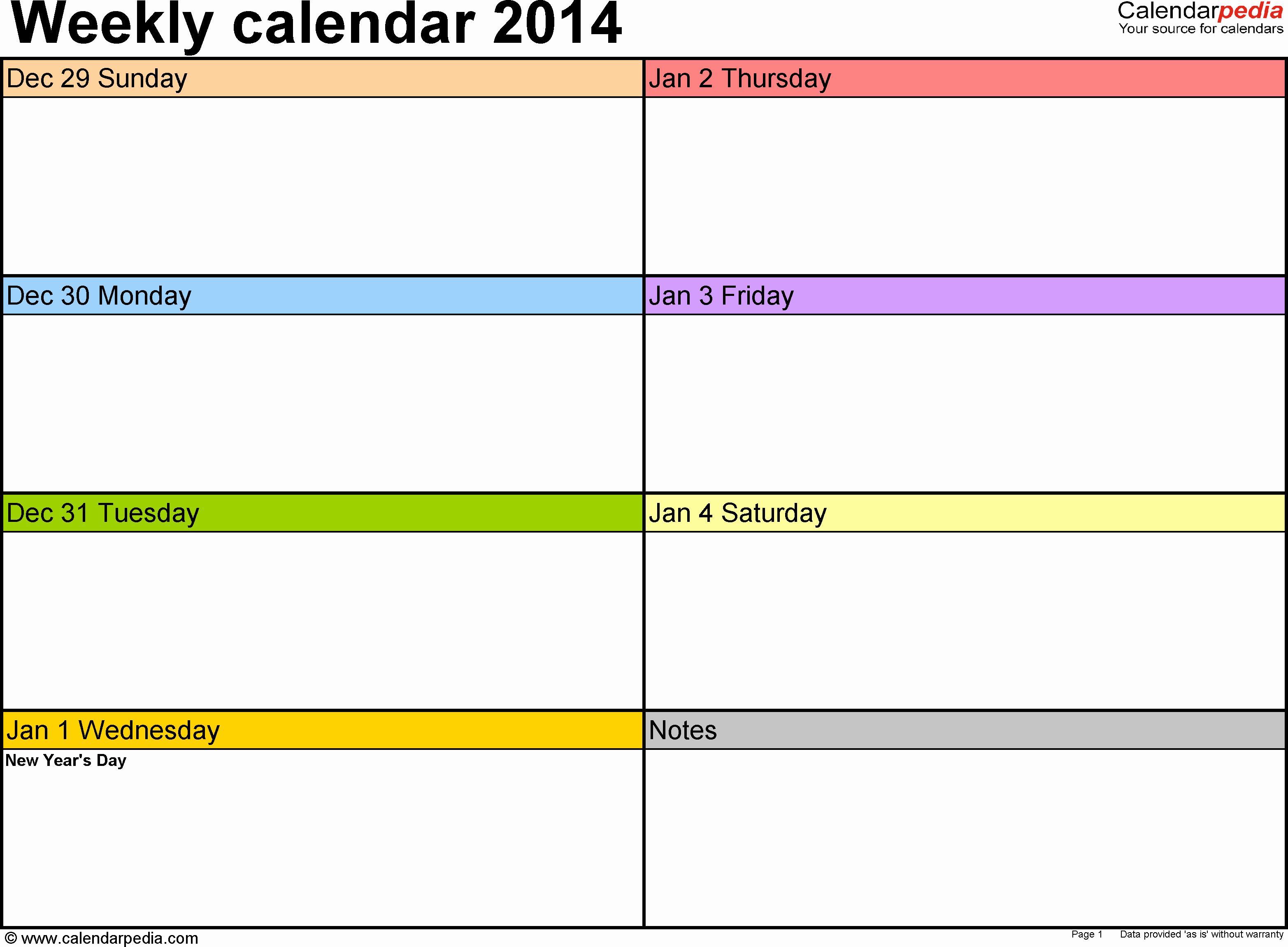 One Week Schedule Template Elegant Weekly Calendar 2014 for Pdf 4 Free Printable Templates