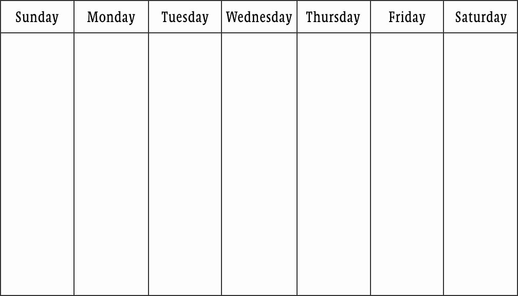 One Week Schedule Template New Blank Calendars Weekly Blank Calendar Templates