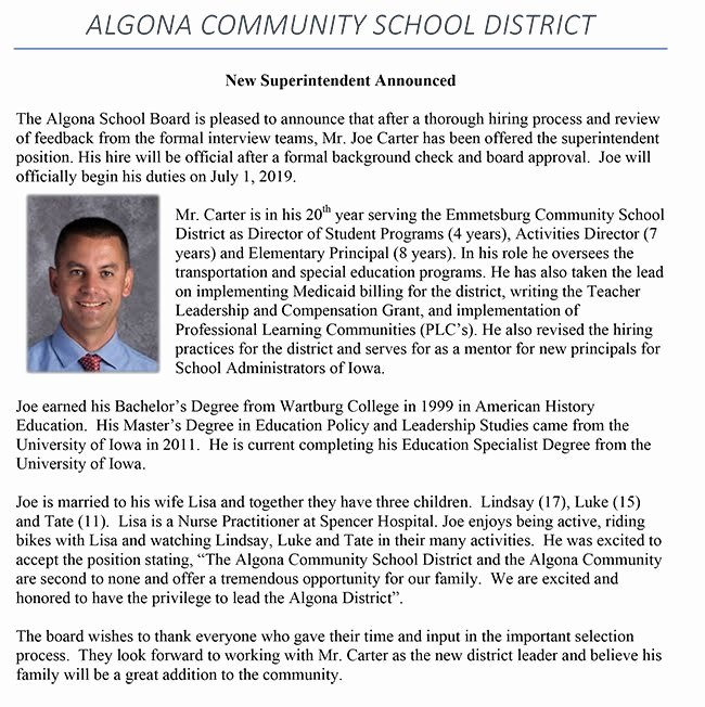 Open Enrollment Announcement Template Fresh Algona Munity School District