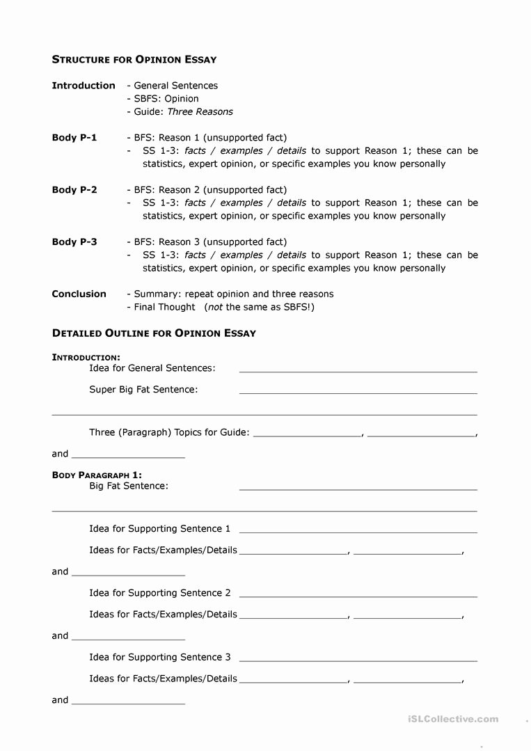 Opinion Editorial Essay Example Lovely Opinion Essay Outline Worksheet Free Esl Printable