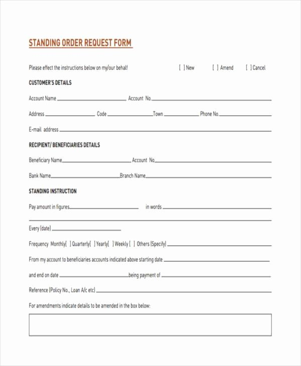 Order Request form Lovely Blank order forms