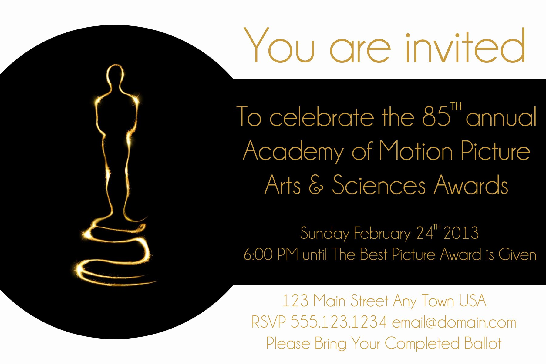 Oscar Invitation Templates Awesome Oscar Party Invite