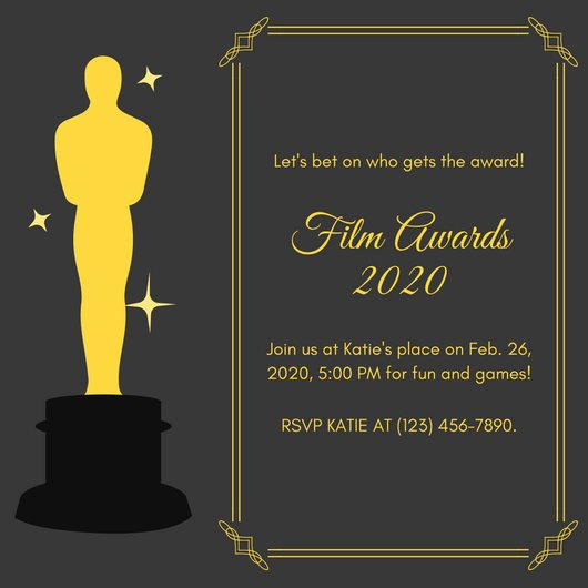 Oscar Invitation Templates Awesome Party Invitation Templates Canva