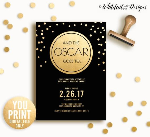 Oscar Invitation Templates Elegant Oscar Party Invitation 2017 Oscar Invitation Academy Awards