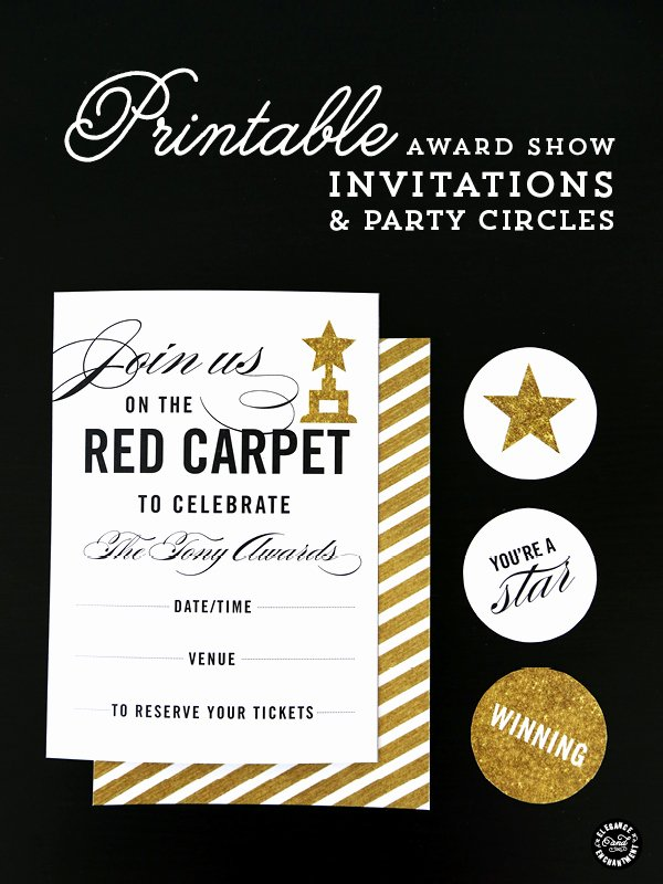 Oscar Invitation Templates Elegant Red Carpet Party Printables