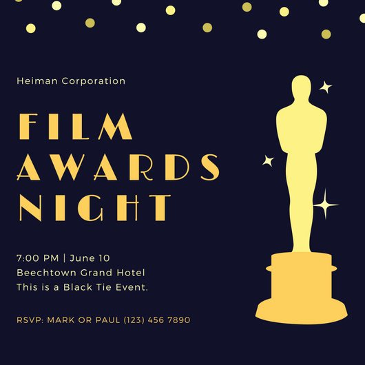 Oscar Invitation Templates Fresh Customize 46 Awards Night Invitation Templates Online Canva