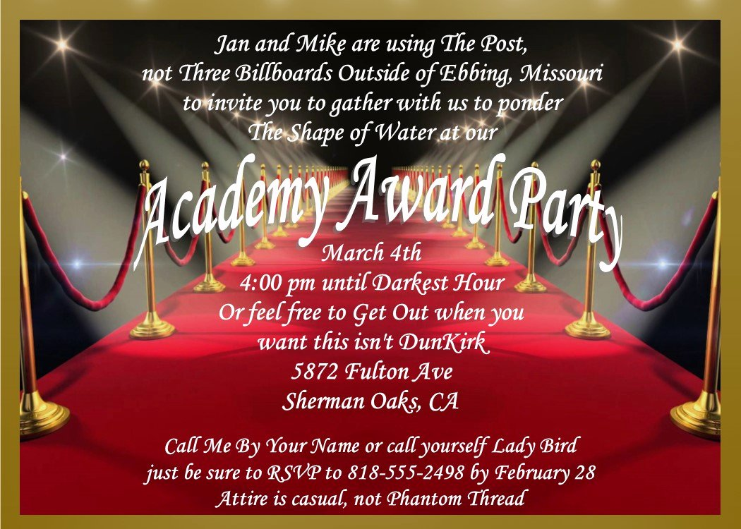 Oscar Invitation Templates Lovely Academy Awards Party Invitations and Oscar Invitations New