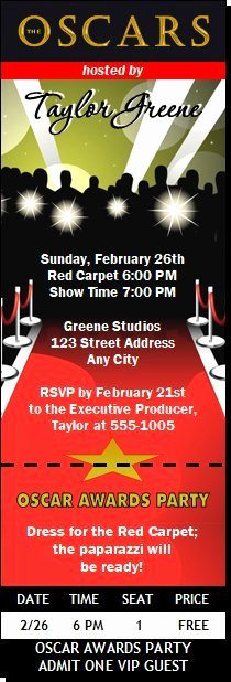 Oscar Invitation Templates Lovely Oscar Awards Red Carpet Paparazzi Ticket Invitation