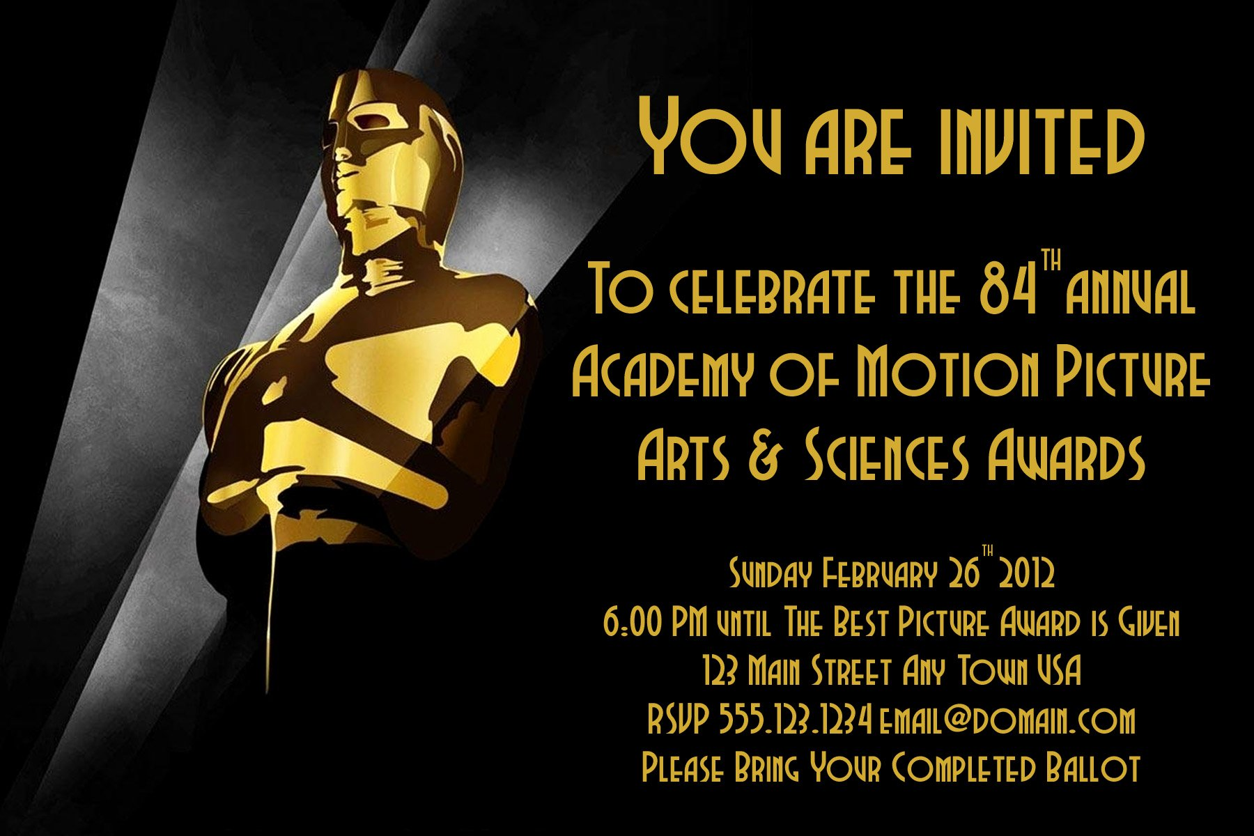 Oscar Invitation Templates Lovely Oscar Party Invite