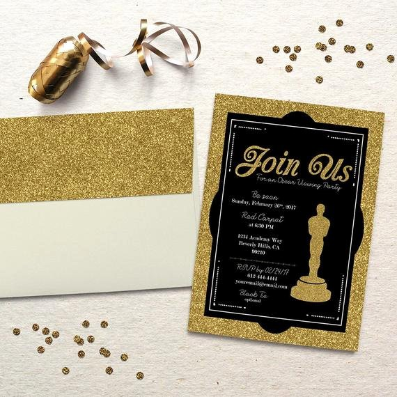 Oscar Invitation Templates Unique Oscar Party Invitation Academy Awards Oscar Viewing