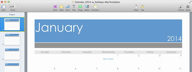 Pages Calendar Template Mac Elegant Pages Calendar Template for Pages Updated for 2014