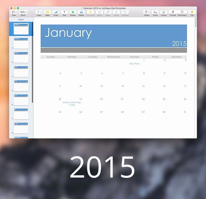 Pages Calendar Template Mac Lovely 2015 Calendar Mactemplates