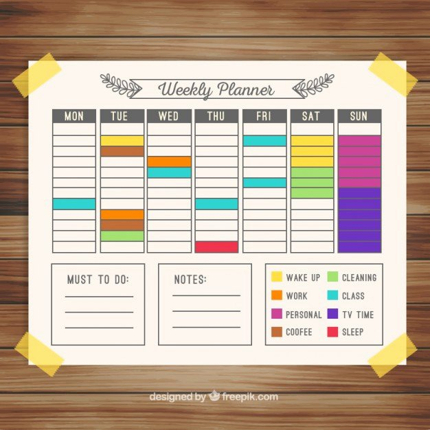 Paint Schedule Template Lovely Colorful Weekly Calendar Planner Vector