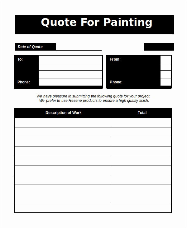 Painting Estimate Template Excel Elegant Word Estimate Template 5 Free Word Documents Download