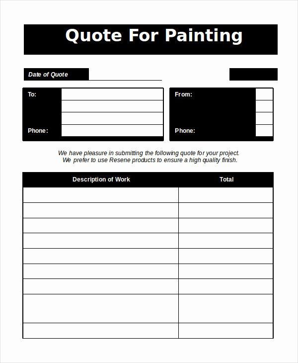 Painting Estimate Template Excel Elegant Word Estimate Template 5 Free Word Documents Download