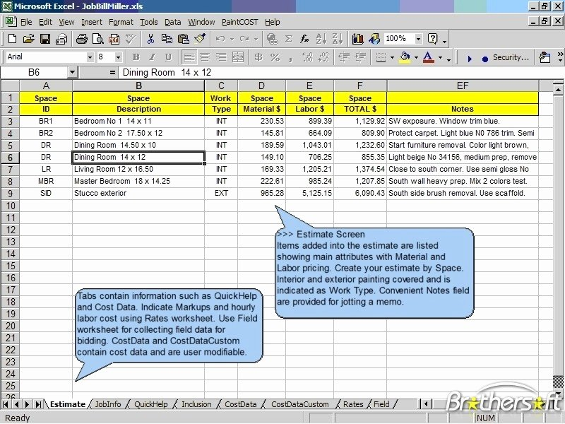 Painting Estimate Template Excel Inspirational Download Free Paintcost Estimator for Excel Paintcost