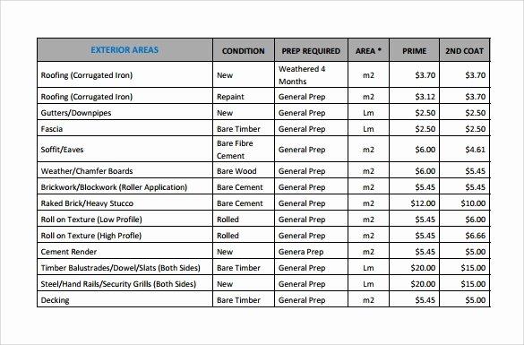 Painting Estimate Template Excel Luxury Sample Painting Estimate Templates 9 Free Documents In Pdf