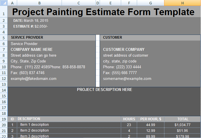 Painting Estimate Template Excel Unique Project Painting Estimate Template Project Management