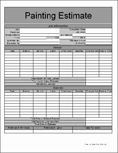 Painting Estimate Template Free Downloads Awesome Printable Job Estimate forms